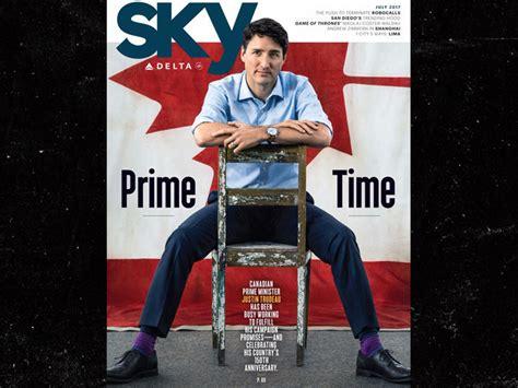 justin trudeau poses  magazine cover  legs spread
