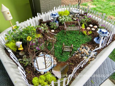 pink and green mama simple fairy garden for kids