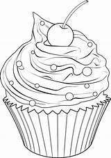 Cupcake Coloring Cupcakes Drawing Printable Drawings Cakes Colorir Ice Adult Muffin Pintura Dibujos Clip Riscos Desenho Desenhos Template Sorvetes Bolos sketch template