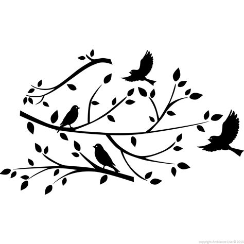 stickers muraux branche d arbre sticker branche d arbre et oiseaux stickers nature arbres ambiance sticker