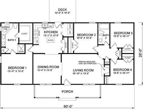 Southern Style House Plan   4 Beds 2 Baths 1680 Sq/Ft Plan