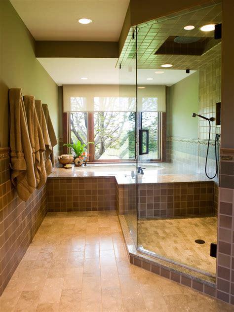 glass walk in shower in neutral contemporary bathroom hgtv