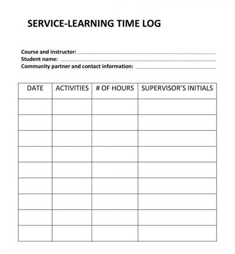 free 10 time log templates in pdf word