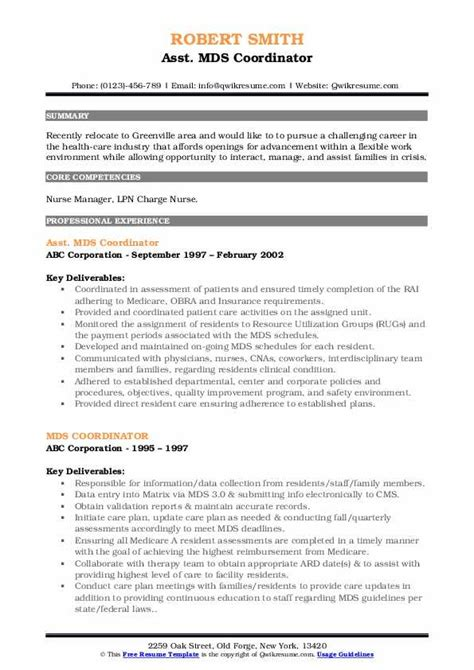 mds coordinator resume samples qwikresume