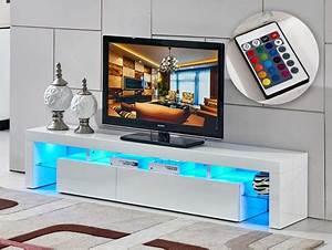 Meuble Tv Led Blanc Laqué : meuble tv ~ Teatrodelosmanantiales.com Idées de Décoration
