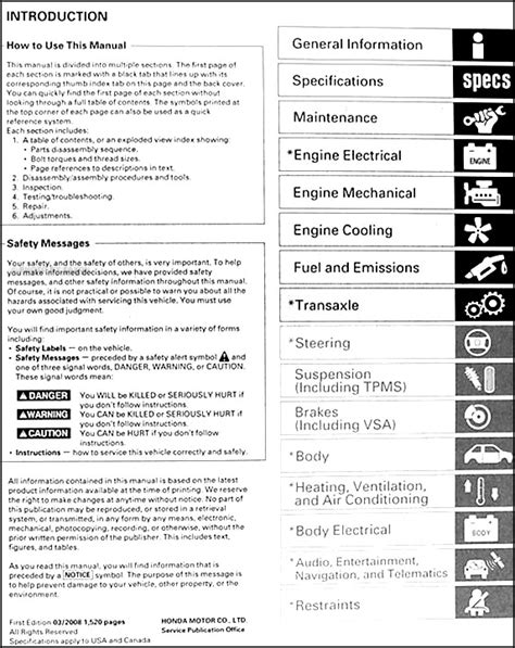 vehicle repair manual 2008 honda odyssey on board diagnostic system faxon shop manuals for car truck owners diy service repair or maintenance