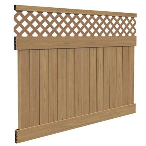 cypress home depot veranda yellowstone 6 ft h x 8 ft w cypress vinyl lattice top fence panel kit 73014353 the