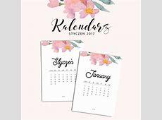 Kalendarz do druku styczeń 2017 {do pobrania za darmo