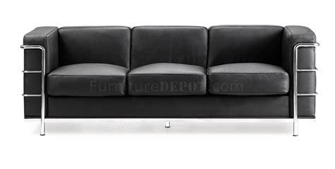 office settee furniture black italian leather le corbusier style living room