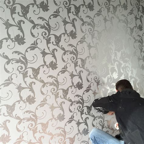 Silver Animal Print Wallpaper - damask 3d feature wallpaper roll silver and
