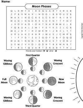 moon phases worksheet word search by science spot tpt