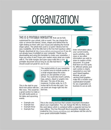 word newsletter template   printable microsoft