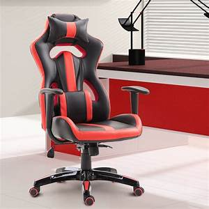 Homcom, High, Back, Gaming, Chair, Pu, Leather, Racing, Style, Seat, Red