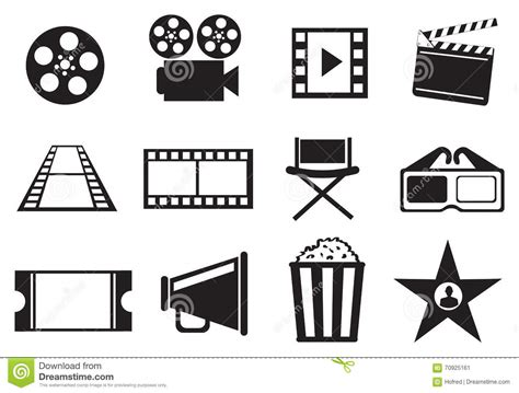 Icon Set Cinema Cartoon Vector