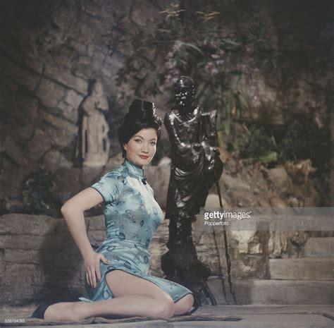 british actress zena marshall pictured wearing  blue