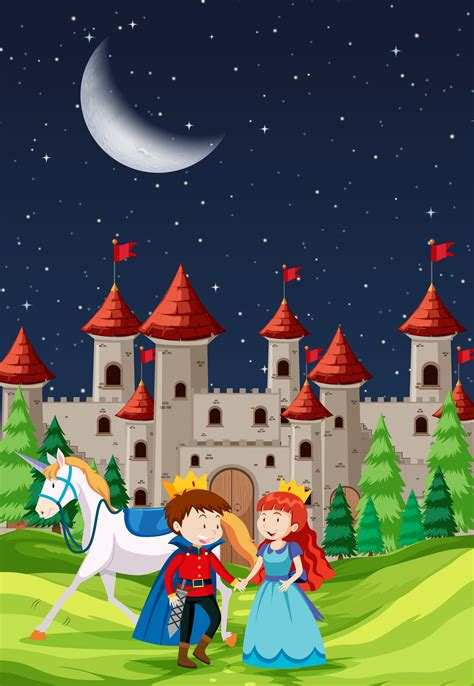 prince  princess   castle   vectors