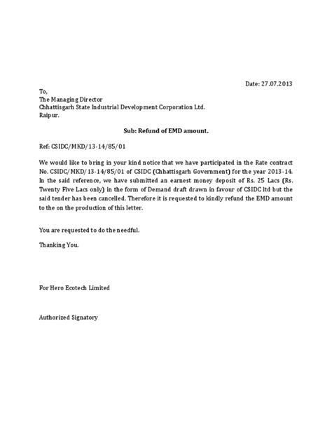 letter  refund  emd