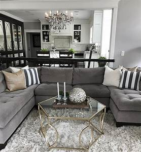 Living room light grey couch grey and white decor living for Curtains for living room with grey furniture