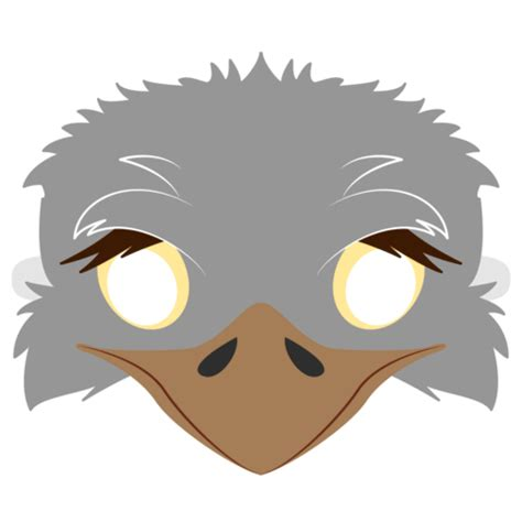 ostrich mask template  printable papercraft templates