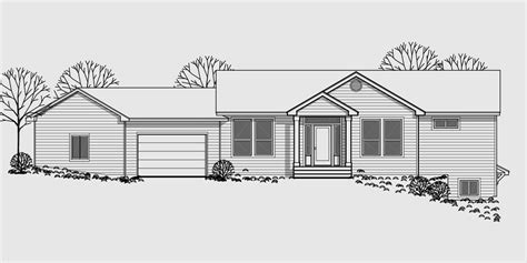 Walkout Basement House Plan, Great Room, Angled Garage