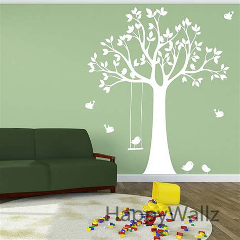 stickers muraux chambre enfant b 233 b 233 p 233 pini 232 re sticker mural swing oiseaux arbre stickers