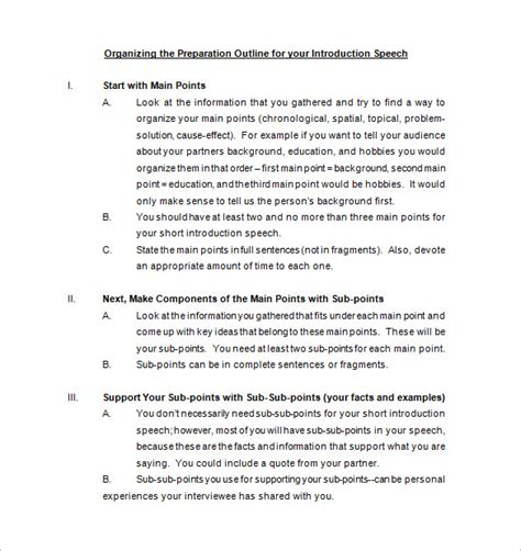 introduction speech outline 29 speech outline templates pdf doc free premium