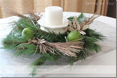 dollar store christmas centerpiece setting
