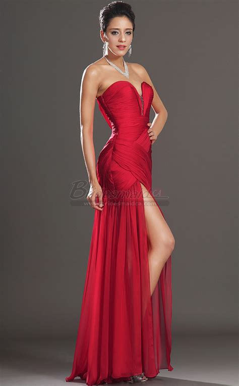 red sweetheart neckline long silk  chiffon mermaid