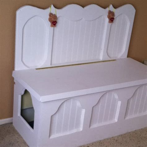 Litter Box Bench by Litter Box Hides Inside And Bench Top Opens For Cleaning I