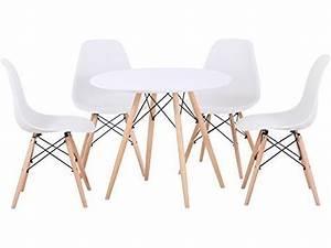 Stühle Im Eames Stil : tegan seconique esstisch mit natrlichem holz tisch und 4 sthle schwarz oder weiss eames stil art ~ Indierocktalk.com Haus und Dekorationen