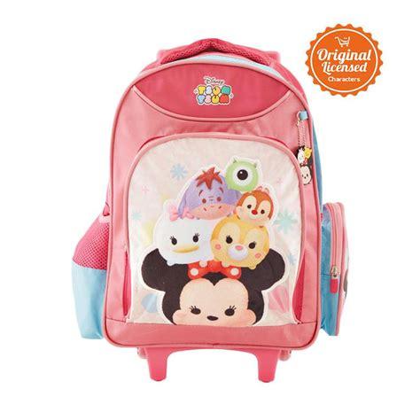 jual disney tsum tsum trolley bag tas sekolah anak pink