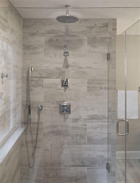 bathroom remodel glass enclosed shower  grey tile