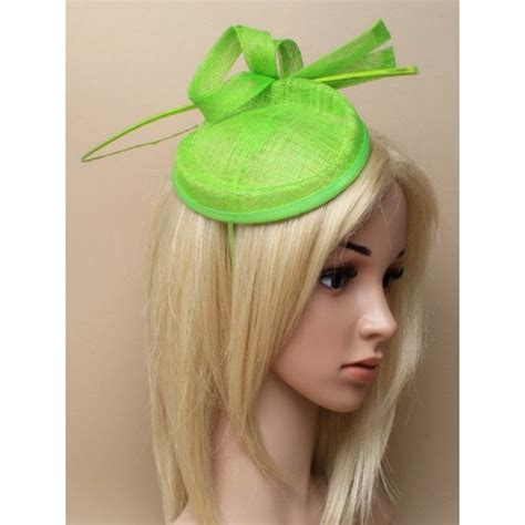 lime green fascinator alice hair band  sinamay