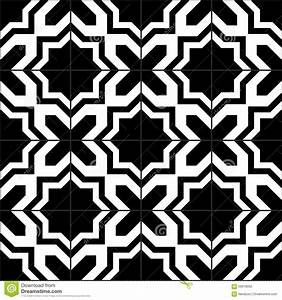 Black And White Moroccan Tiles Seamless Pattern, Vector ...