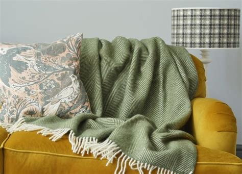 olive green herringbone throw  british blanket company