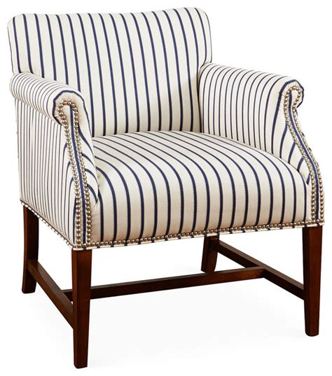 striped accent chair navy white contemporary