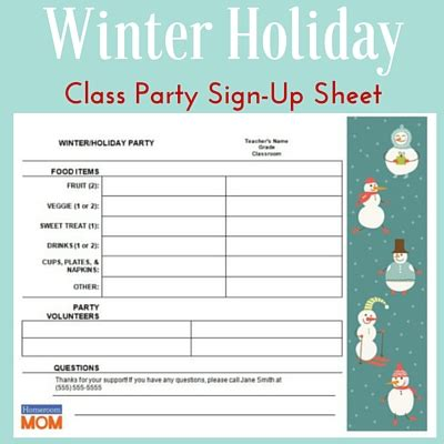 christmas sign up sheet winter classroom sign up sheet pto today