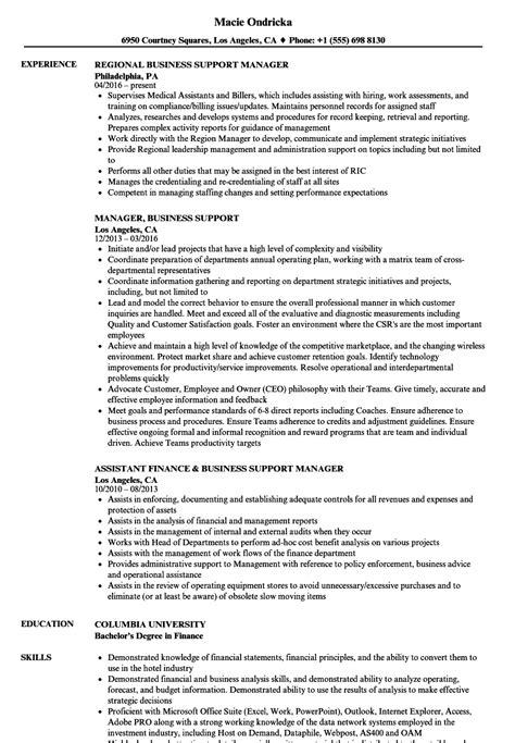 manager business support resume samples velvet jobs