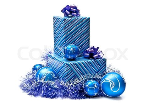 blue gifts boxes with christmas decoration isolated on white stock photo colourbox