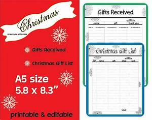 Christmas Planner Christmas Gift List Gifts Received