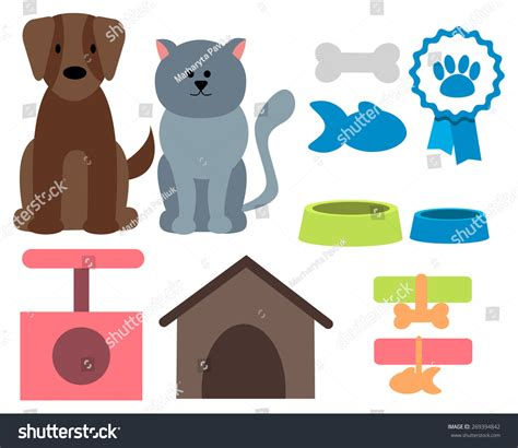 pet icons cat and accessories vector illustration