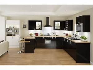sol parquet cuisine noire plan de travail bois deco With idee deco cuisine avec cuisine Équipée noir et blanc
