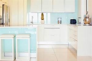 Crédence Cuisine En Verre Imprimé : cr dence de cuisine en verre sur mesure securit bleu clair ~ Edinachiropracticcenter.com Idées de Décoration