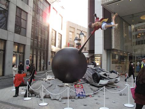 life size goku luffy statues duke    overturned