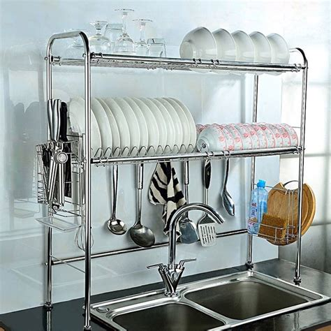 kitchen sink with drying rack 2 shelf dish drying rack sink storage kitchenware 8573