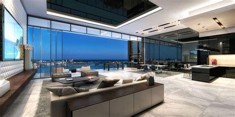 cuisine ouverte sur salle à manger et salon un penthouse miami ou le design luxueux et la vue