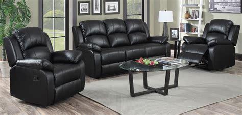 3 1 1 seater black recliner leather sofa set sofashop - Leather Sofa 3 1 1