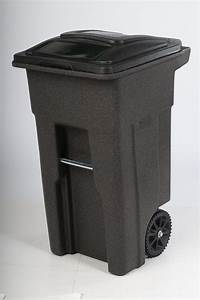 Toter, 32, Gal, Trash, Can, Brownstone, With, Wheels, And, Lid