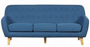 Canapé Scandinave Bleu : deco in paris 9 canape scandinave 3 places tissu bleu viky viky 3pl bleu ~ Teatrodelosmanantiales.com Idées de Décoration