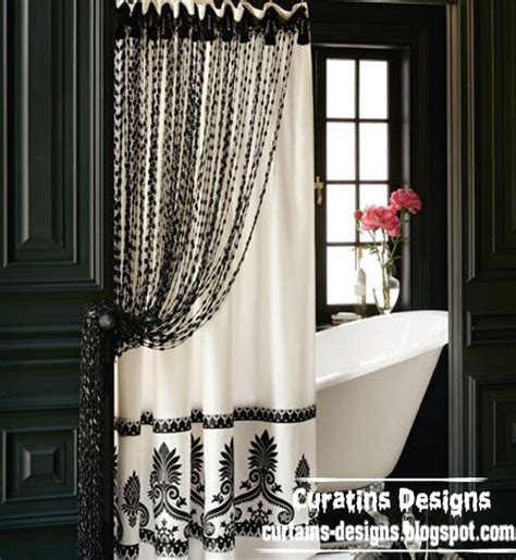 black and white shower curtain for modern bathroom